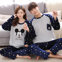 Autumn Winter Coral Velvet Couple Pajamas Set Mickey Plus Si