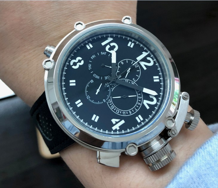 50mm GEERVO  right hand style  crown black dial Automatic Self-Wind movement Auto Date Men's watch cow Leather strap PA170-P8