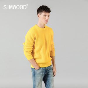 Image 1 - Мужской теплый свитер SIMWOOD, повседневный трикотажный пуловер с вырезом, брендовая одежда высокого качества, SI980567, Осень зима 2020