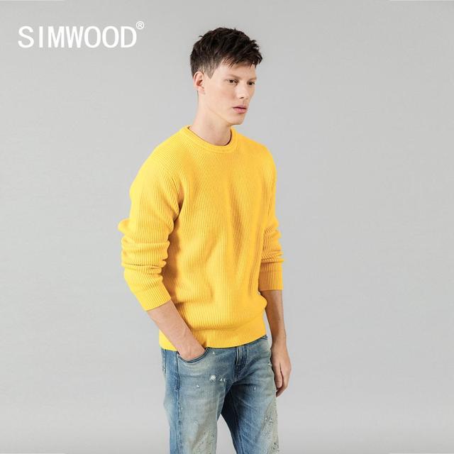 Мужской теплый свитер SIMWOOD, повседневный трикотажный пуловер с вырезом, брендовая одежда высокого качества, SI980567, Осень зима 2020