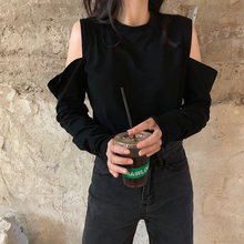 Mooirue Autumn Long Sleeve Vintage T Shirt Women Hollow Out Long Sleeve O Neck Casual Streetwear Harajuku Tops Korean Style Tee long sleeve asymmetric cut out tee