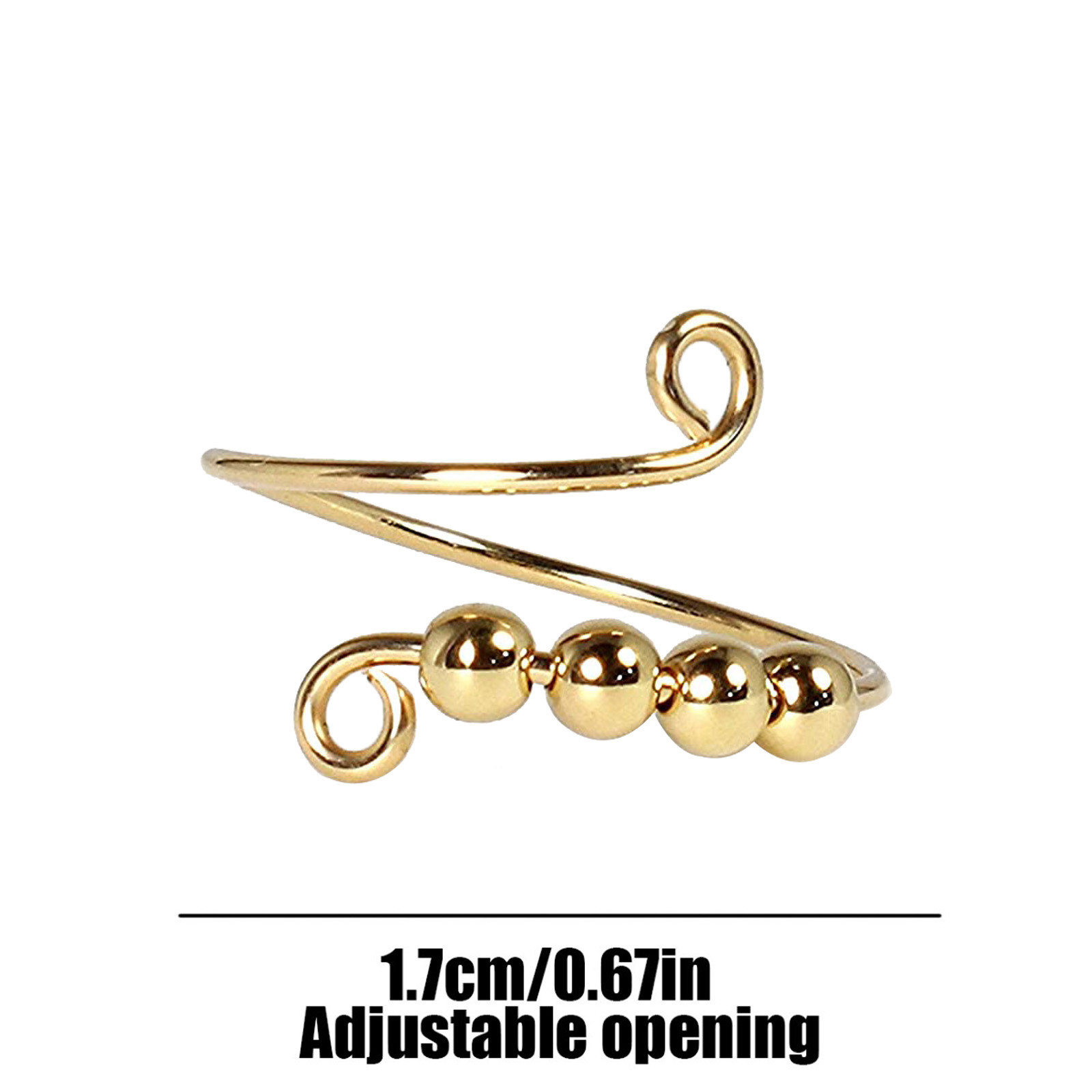 Toy Ring-Beads Fidget-Ring Freely Stress Spiral-Anxiety Rotate Reliever Fingertip Knitting img3