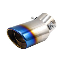 Universal Car Round Exhaust Muffler Tip Stainless Steel Pipe Chrome Trim Modified Car Rear Tail Throat Exhause Liner