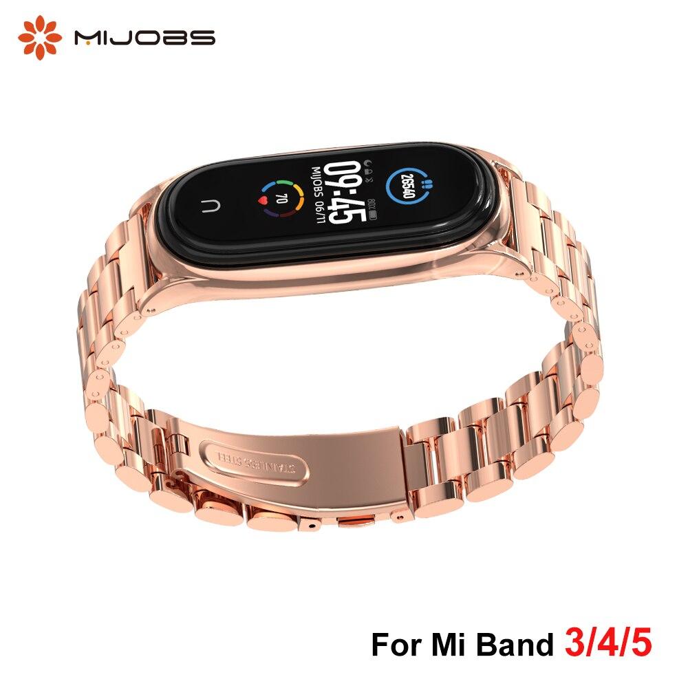 Купить металлический ремешок mijobs для xiaomi mi band 5 4 3 браслеты
