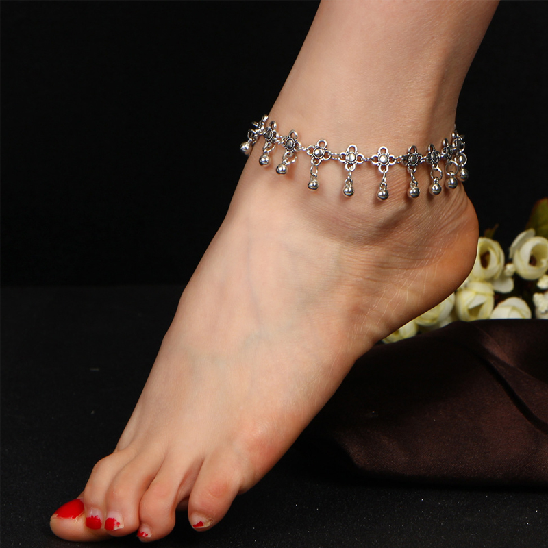 Bohemia Anklets Hollow Carved Clover Anklet Water Drop Tassel Bell Ankle Bracelet Plated Silver-plated Anklets for Women Anklet