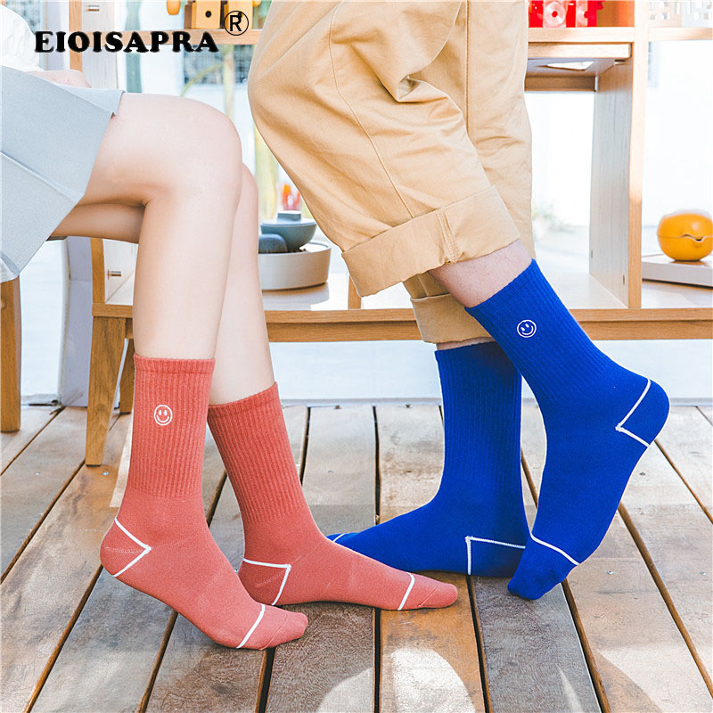 Casual Embroidery Smiling Face Couples Socks Japanese Style Harajuku Street Trend Unisex Funny Sox Pure Color Cotton Gift Socks