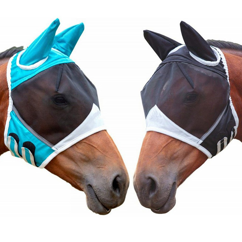 Horse Detachable Mesh Mask With Nasal Cover Horse Fly Mask Horse Full Face Mask Tie Rope