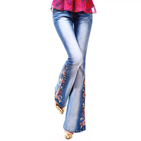 Clearing Off Code Luxury Embroidered Flares High Waist Flared Jeans Female Boot Cut Fine Beading Bell Bottom Jeans