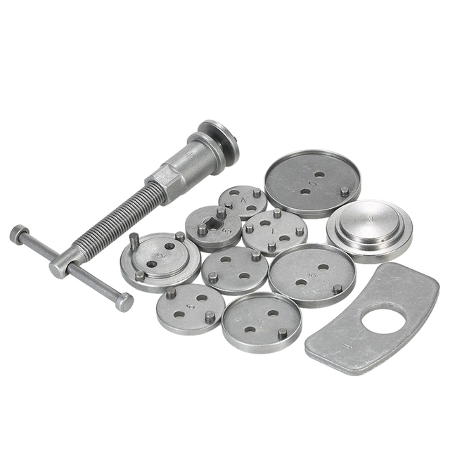 12pcs Auto Universal Disc Brake Caliper Car Wind Back Pad Piston Compressor Automobile Garage Repair Tool Kit Set with Case