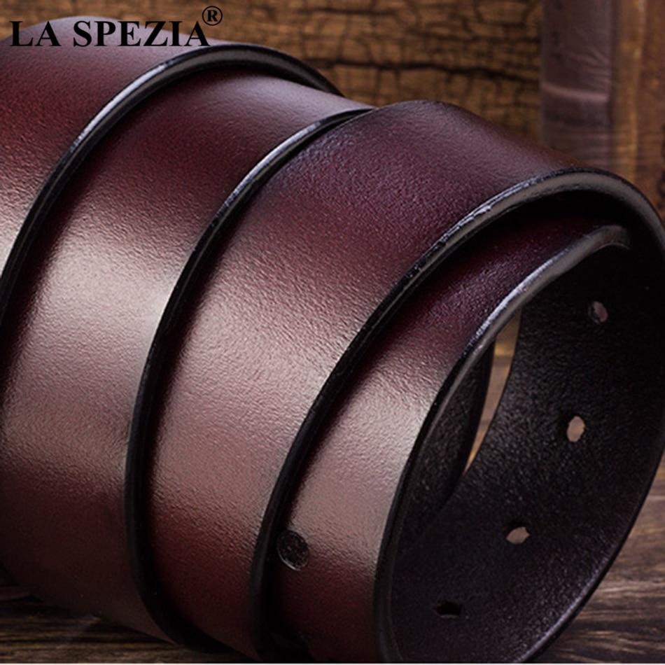 LA SPEZIA męski pasek z prawdziwej skóry kawy pas z zapięciem na sprzączkę męski klasyczny list marka jednokolorowa na co dzień prawdziwy pas ze skóry bydlęcej 130cm
