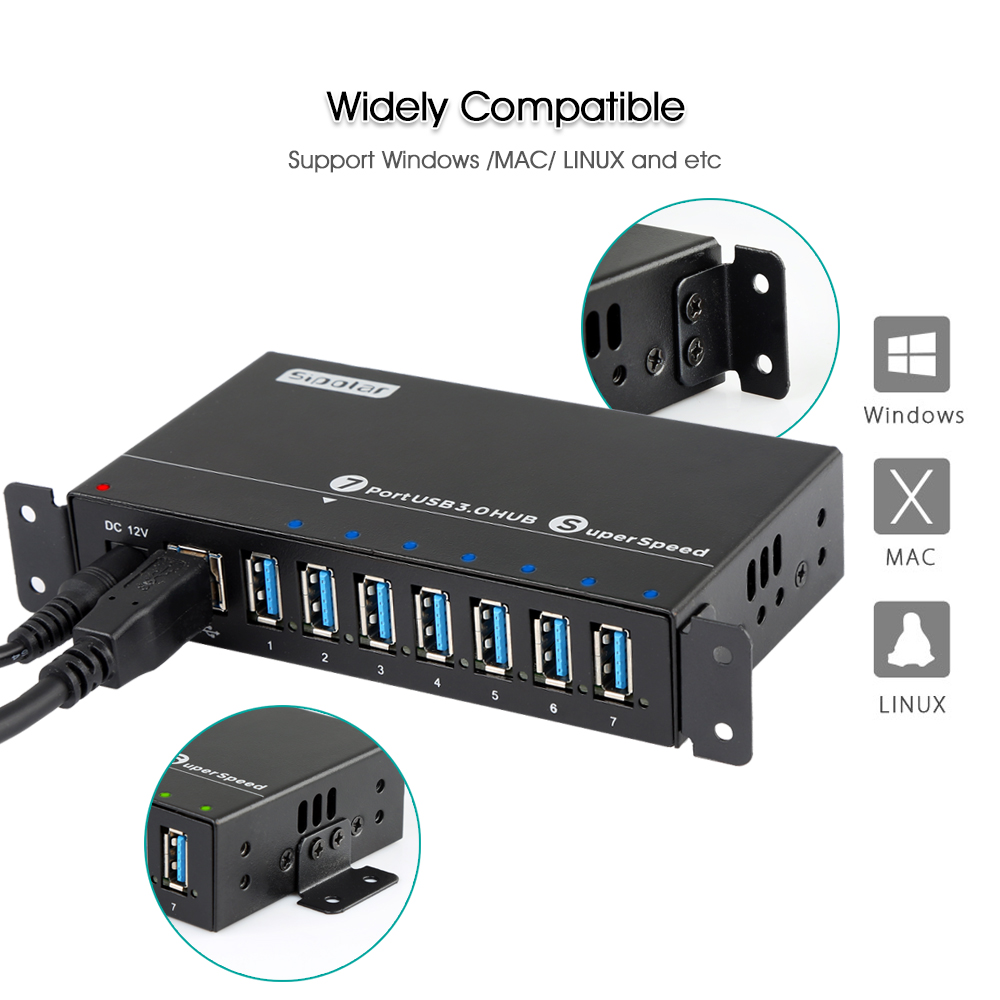Image 3 - Sipolar Industrial USB 3.0 Charging Hub 7 Ports 12V USB Charger HUB Aluminum With 12V 3A Power Adapter LED Indicator Bracket-in USB Hubs from Computer & Office