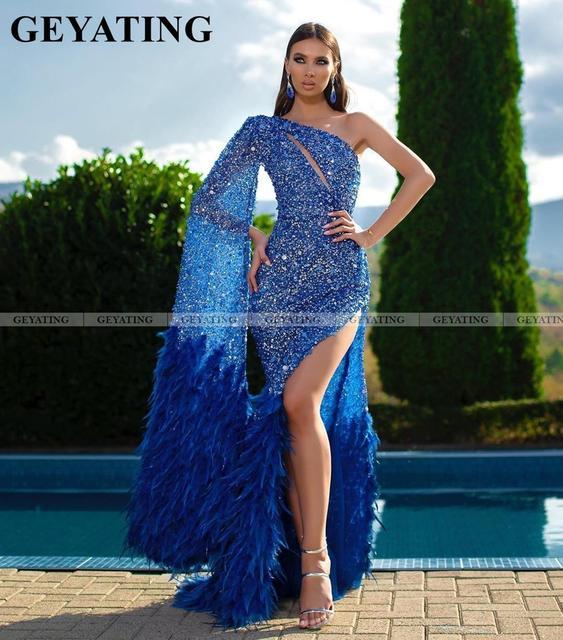 Sparkle Royal azul estilo sirena sin un hombro vestidos de graduación con partido Esmeralda verde plumas africanas mujeres vestidos de noche formales 2020