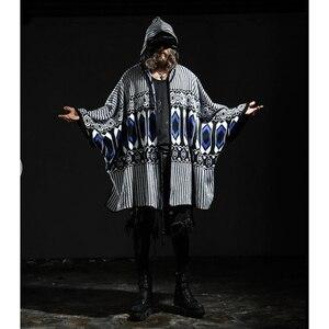 Moda męska nowy rękaw w kształcie skrzydła nietoperza sweter żakardowy sweter kurtka i czapka rozmiar plus średniej długości męska plus rozmiar