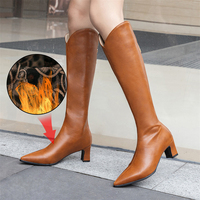 Plus Size 34 48 Women's Boots Casual Fashion Pointed Toe Mid Heel Boots Women Boots Leather Knee High Boots Long Boots Fur Shoes