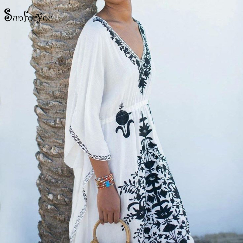 Embroidery Cotton Beach Cover Up V Neck Plus Size Beach Coverups For Women Robe De Plage Swimsuit Cover Up Pareos De Playa Mujer