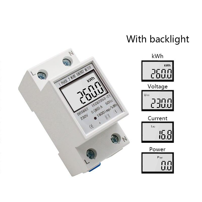 Однофазный двухпроводной ЖК-цифровой дисплей ваттметр энергопотребление электрический счетчик кВтч AC 230 В 50 Гц Электрический din-рейка - Цвет: With backlight