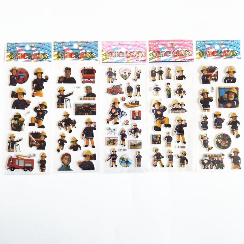 6 Sheets Cartoon Fireman Sam Stickers For Kids On Laptop 3D Fire Guard Firefighter Jupiter Fire Truck Bubble Sticker Doodle