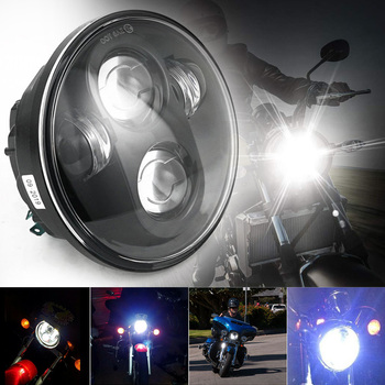 """5-3/4"""" Round Black Projector LED Headlight Hi/Lo Beam 5000LM Pure White 6000K for Wrangler 4000 4040 5506 H5001 H5006 H5006LL"""