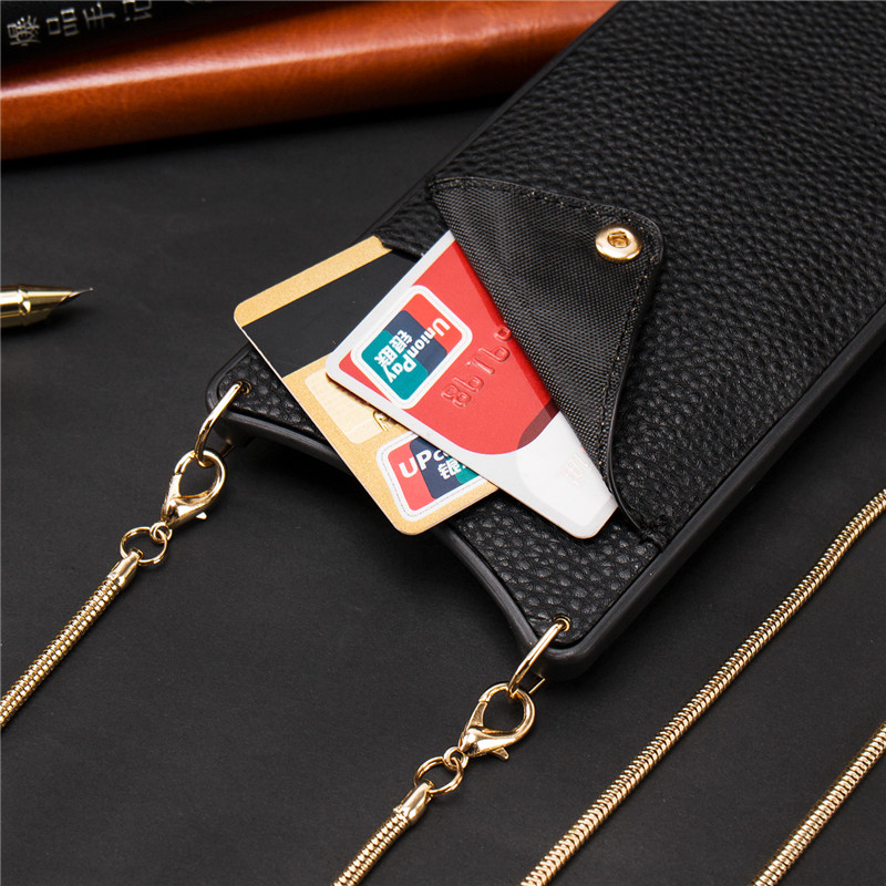 Credit Card Leather Wallet <font><b>Belt</b></font> Crossbody Long Chain Phone Case for <font><b>Iphone</b></font> 11 pro XR <font><b>XS</b></font> Max 6S 8 7 plus luxury Back cover coque image