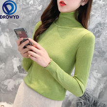 Autumn Turtleneck Women Sweater Fashion Warm Knit Cotton Women Long Sleeve Sweater Casual Solid Color Slim Shirt Simple Pullover