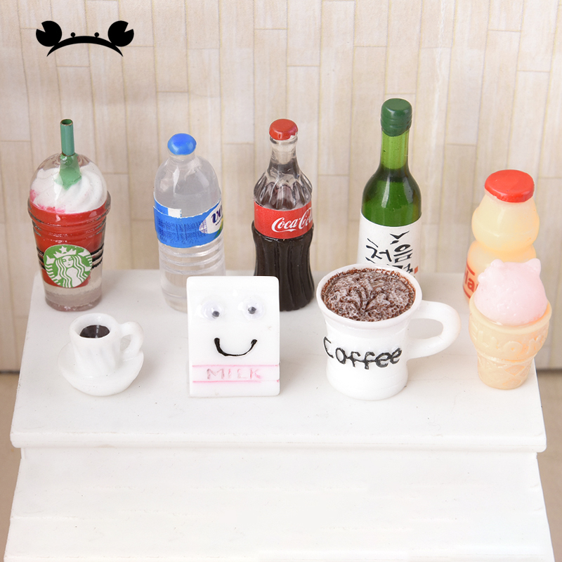 5pcs Simulation Mini Coke Coffee Cup Bottle DIY Dollhouse Miniature Toy Decoration Resin Bottle Doll Drink Kitchen Accessories