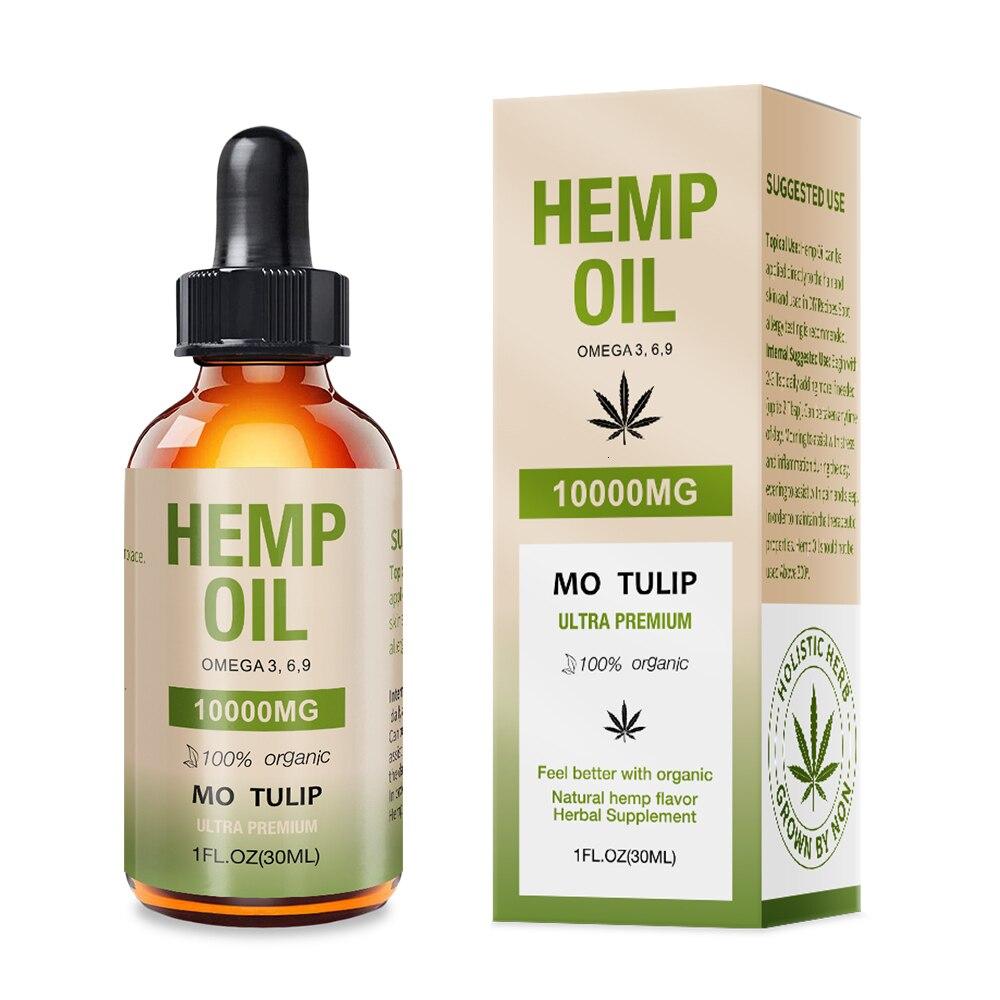 MO TULIP 10000mg Hemp Oil 30ML CBD Oil Organic Pure Essential Oil Herbal Drops Body Relieve Stress Oil Skin Care Help Sleep