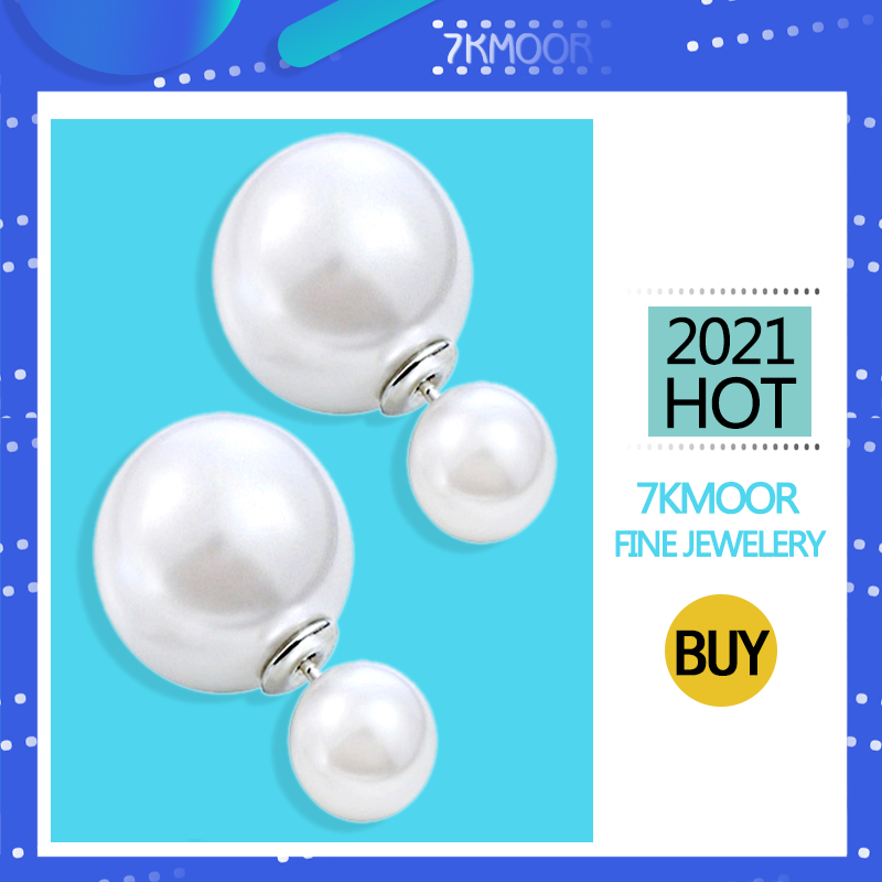 2021 New Fashion Paragraph Hot Selling Earrings Double Side Shining Pearl Stud Earrings Big Pearl Earrings For Women KM18