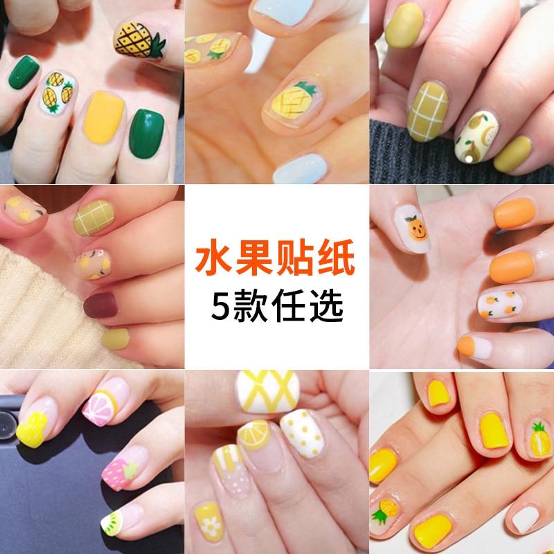 Hyuna Celebrity Style Manicure Fruit Adhesive Paper 3D Waterproof Long-lasting Nail Sticker CHILDREN'S Cartoon Cute Nail Sticker