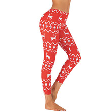 цена на Christmas Leggings Women Christmas Print Leggings Slim ELK Leggings Cotton Female Pants  Jeggings Women Fashion Pencil Pants D35