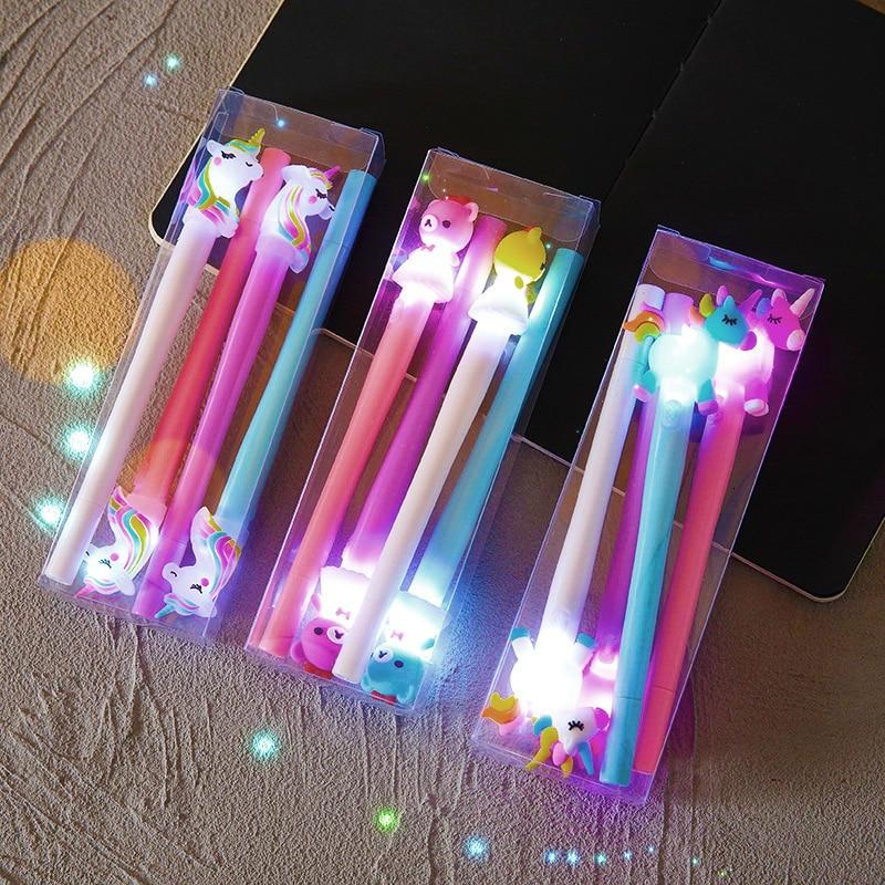 4 шт./компл., милый светодиодный светильник, гелевая ручка Kawaii, единорог, медведь, пони, ручка 0,5 мм, конфетный цвет, нейтральная ручка для детей, подарки, школьные Канцтовары