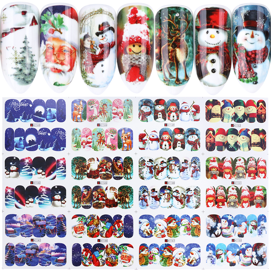 Image 3 - 12 pc Stickers On Nails Snowman Elk Christmas Adhesive Foil Decals Water Sliders For Winter Nail Art Decor Manicure set LABN/A 1-in Stickers & Decals from Beauty & Health