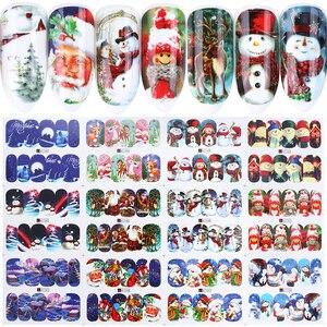Image 2 - 12pçs adesivos de boneco de neve alce, decalques de folha de alumínio para unhas de inverno, decoração de manicure para arte de unhas labn/A 1