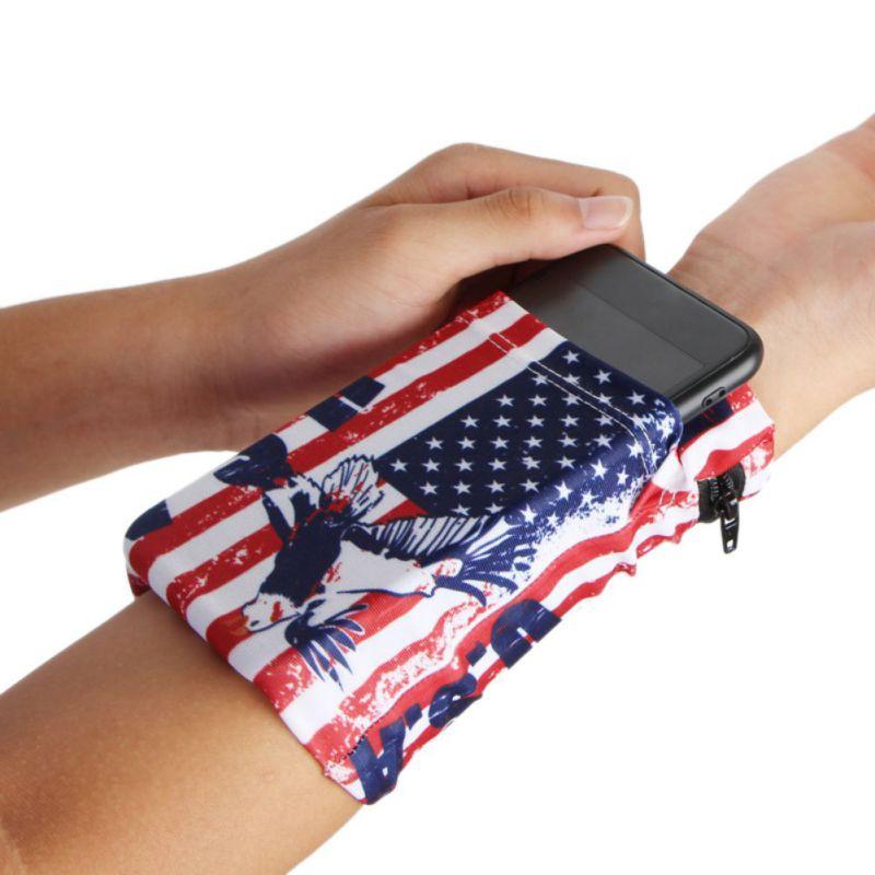 Running Arm Bag Elastic Folding Sweatband Wristband Wrist Armband Phone Pouch Holder Sports Bags Cycling Men's Sportswear