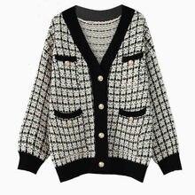 緩いニットカーディガン 2019 秋冬ボタンカーディガンコート女性ヴィンテージ格子セーター暖かい服