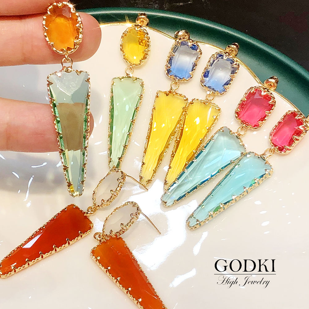 GODKI бразильские многоцветные свадебные серьги-капли в Дубае для женщин, свадебные украшения для помолвки, трендовые кубические циркония 2020