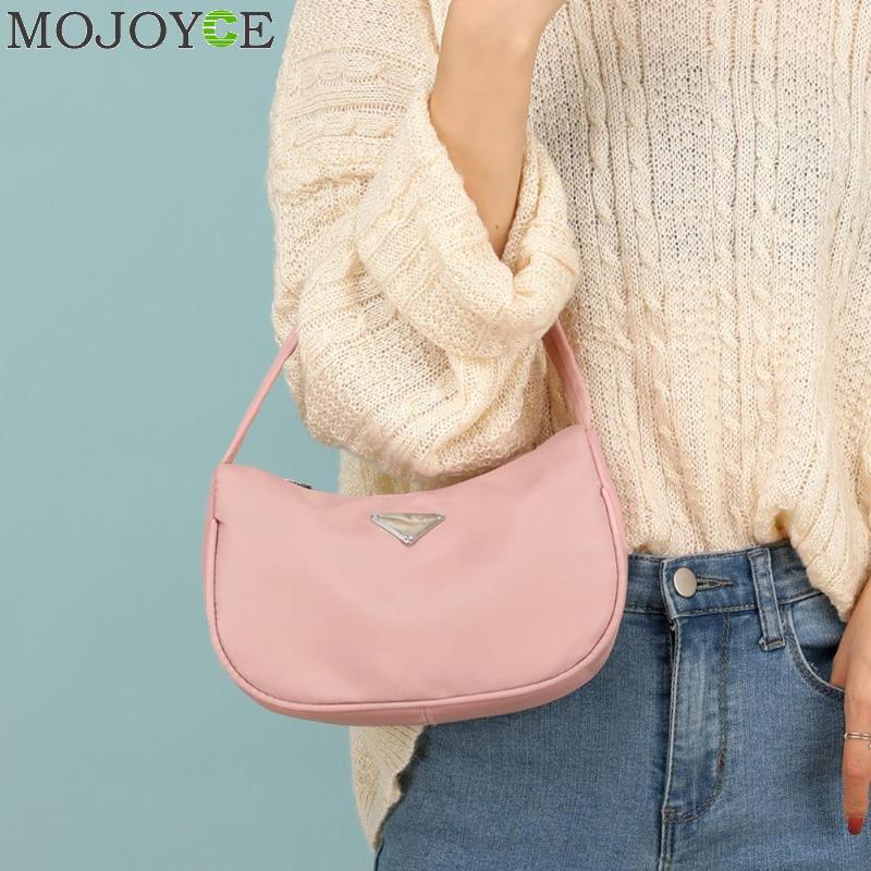 Модная женская сумка из нейлона, простая сумка для покупок через плечо, чистый цвет, элегантная женская сумка на молнии Клатчи      АлиЭкспресс