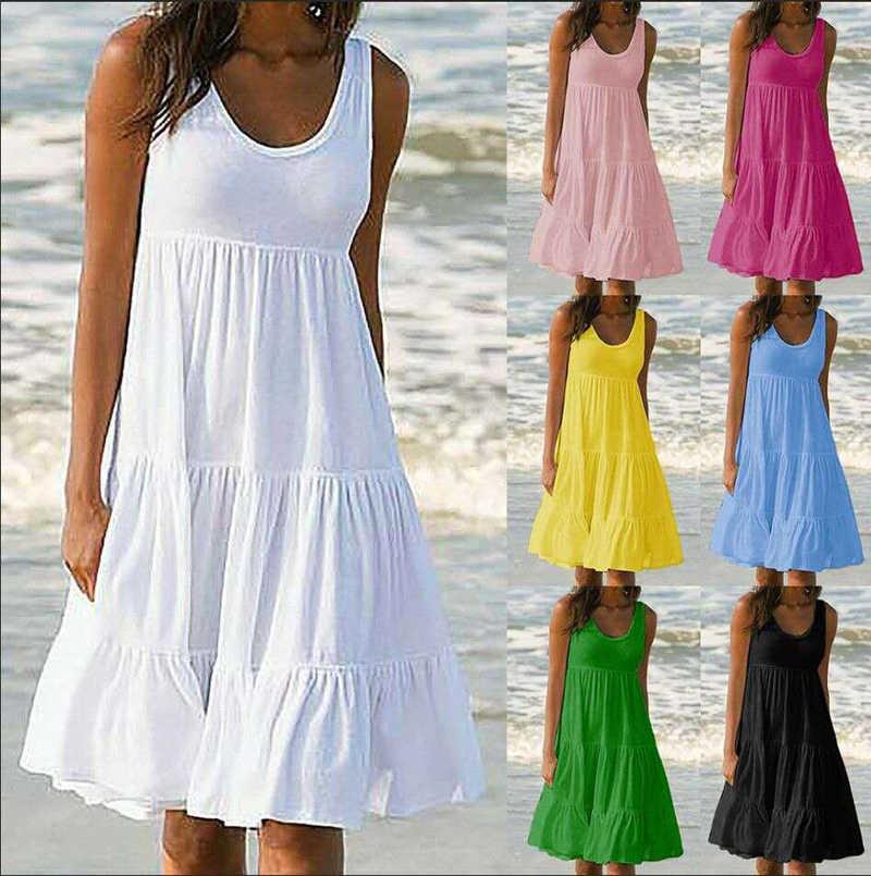Donna Vestito Da Estate Del Vestito Delle Donne Del Vestito Bianco di Modo Casual Vestiti Più di Formato Senza Maniche di Colore Solido Vestito Dalla Spiaggia Allentato Abiti