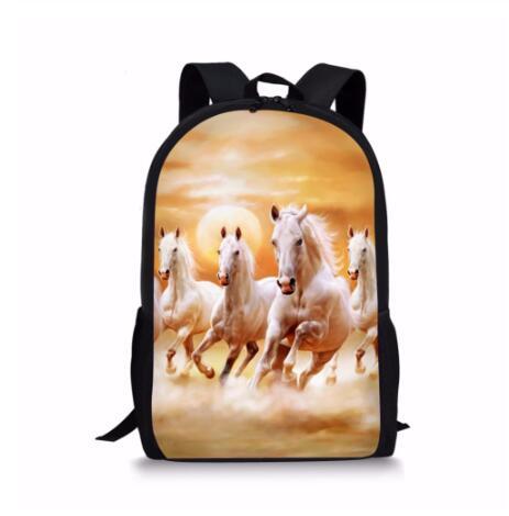 Handsome Horse School Bag For Teen Girls Primary Kids Back Pack Tumblr Notebook Satchel Mochila Infantil Schoolbags