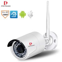Pripaso Wireless Outdoor Security Camhi Camera 1080P 2.0MP Bullet Home Surveillance IP Cam CCTV Waterproof Night Vision camera