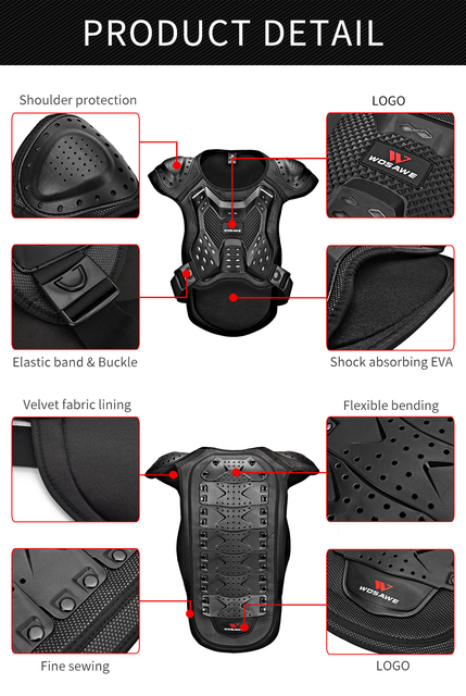 WOSAWE Motorcycle Armor Vest Chest Back Support Body Protective Gear Snowboard Motocross Racing Skateboard Armor Adult Kids 6