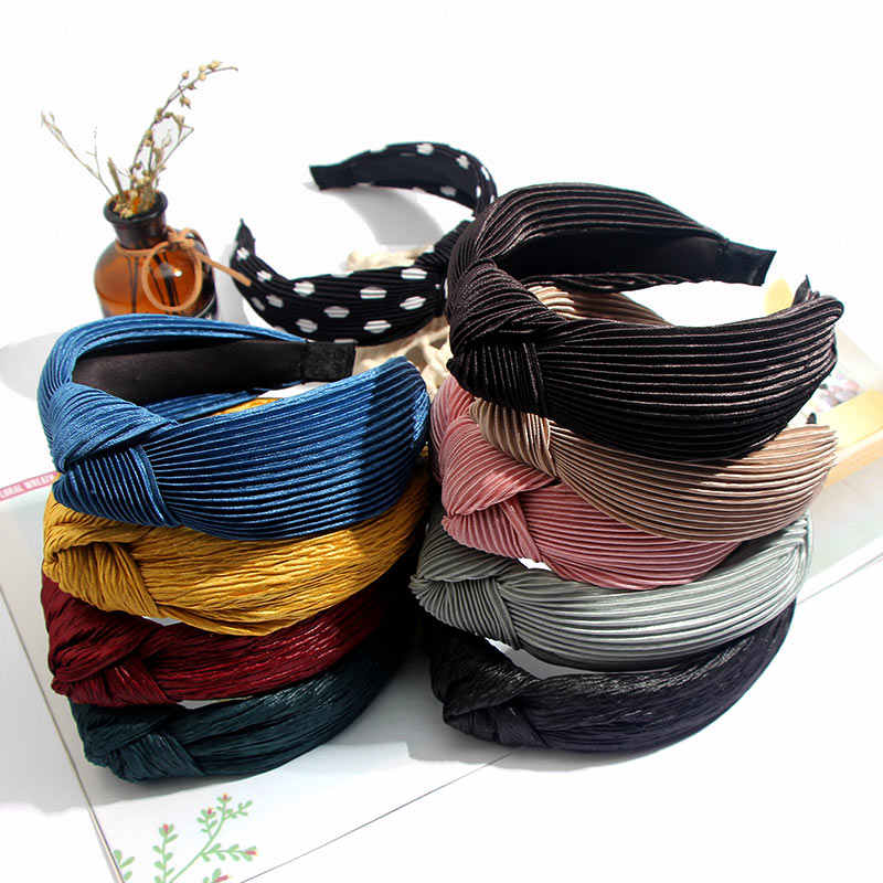 Flatfoosie Dot Solid Color Knotted elastic Headband Hard Striped Soft for Women Korea Hair Hoop Girls Hair Accessories Girl 2019