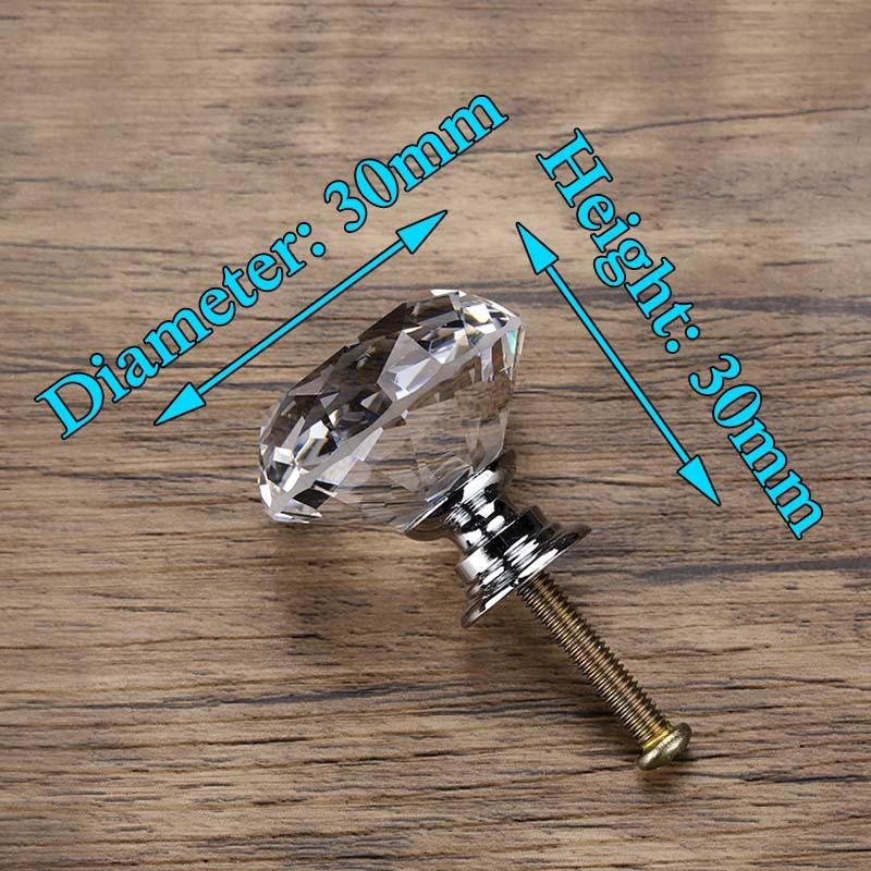 KAK 20-40 мм Алмазная форма дизайн Хрустальные стеклянные ручки шкаф выдвижной ящик Кухонный Шкаф Дверь Шкаф ручки Фурнитура - Цвет: 30mm