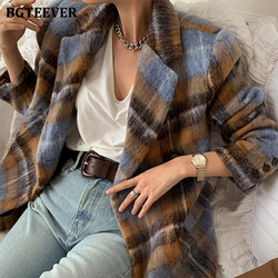 BGTEEVER 2021 Spring Warm Thick Women Plaid Woolen Jacket Vintage Notched Collar Loose Lace-up Female One Button Blend Coats