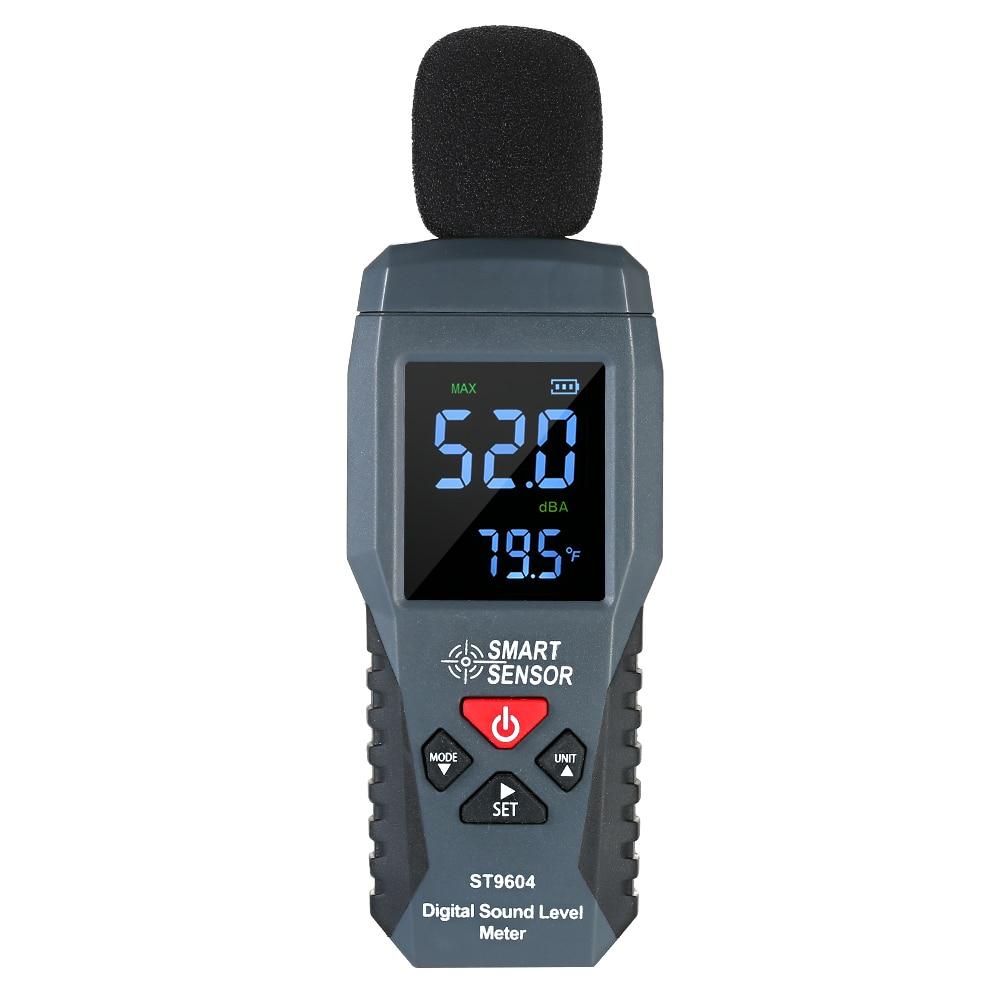 Смарт-датчик цифровой измеритель уровня звука 30-130 дБ, децибел метр ЖК-дисплей Подсветка Sonometer Шум метр с термометром Функция