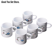 6pcs Ceramic Mug Drinkware Teaware Chinese KungFu Tea Set Teacup 90ml Cup with Handle Master Cup Teaset Specialized Coffee Cup(China)
