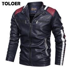 Мужская кожаная куртка из искусственной кожи, Повседневная мотоциклетная куртка бомбер из искусственной кожи в винтажном стиле, Осень зима 2019