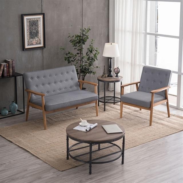 (75 x 69 x 84)cm Retro Modern Wooden Single Chair  Grey Fabric US Warehouse In Stock 5