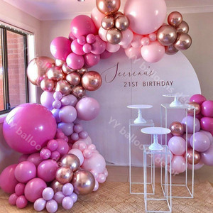 Baby Shower DIY Balloon Arch Garland Global Hot Pink Chrome Rose Gold Wedding 1st Birthyday Party Kids Toys Background Decor