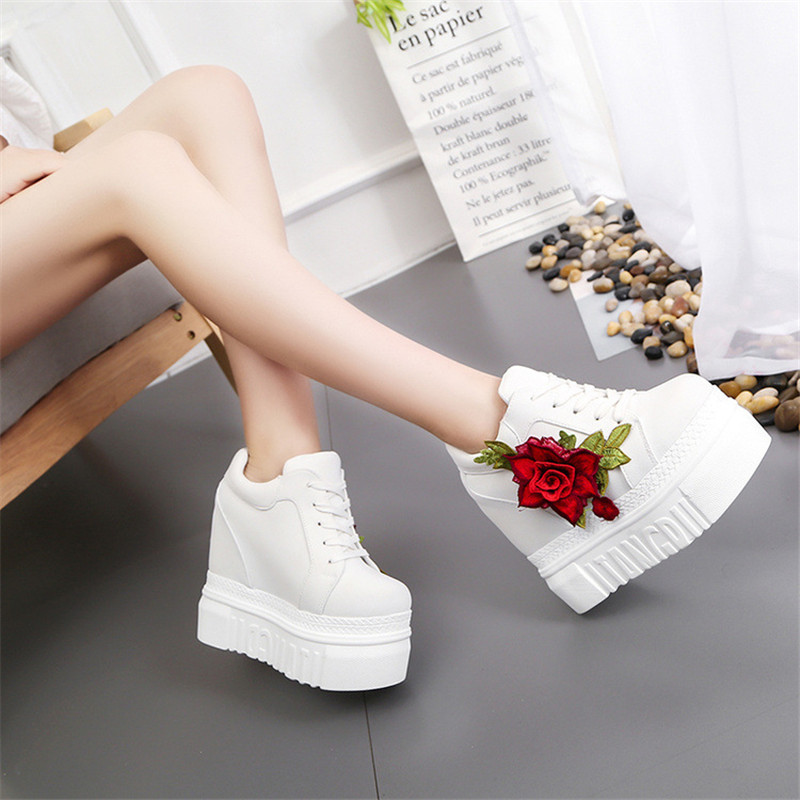 Embroidered Flowers Canvas Sneakers Women High Wedge Sneaker Fashion White/black/red Platform Sneakers Woman Casual Shoes 2019
