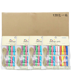 3.5 Cm Color Wood Small Clip 20 PCs Hardcover with Hemp Rope Home Decoration Message Picture Portfolio Tank Loaded